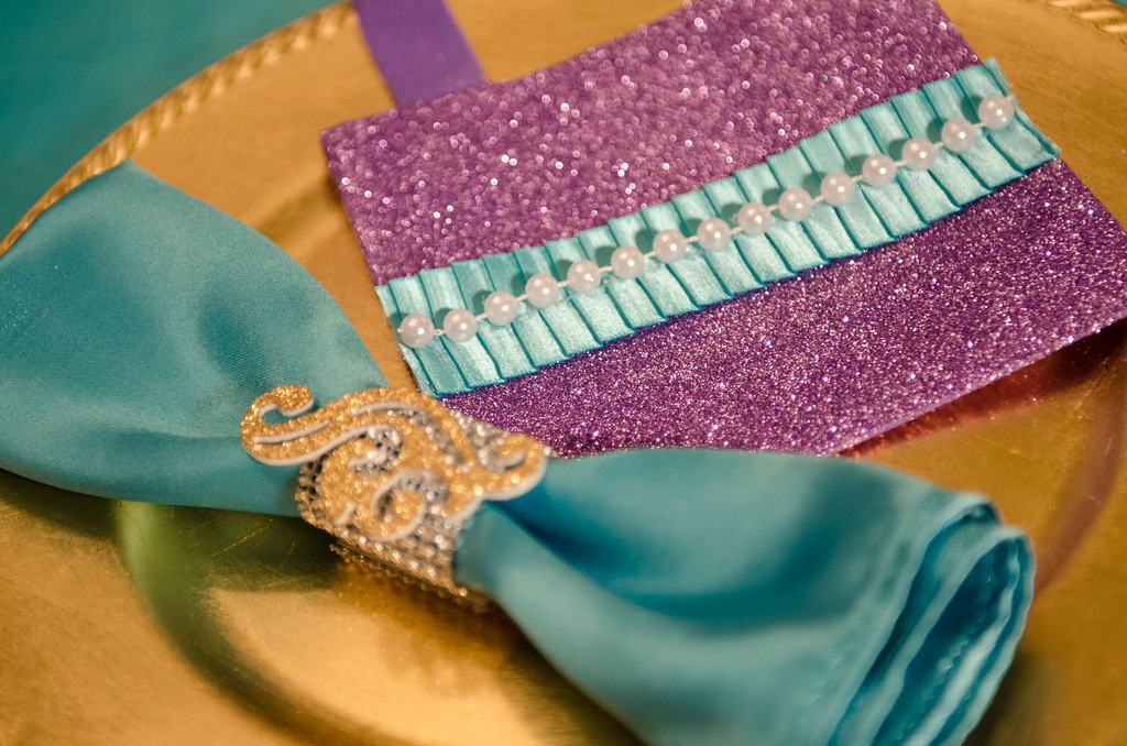 The Little Mermaid Party place setting detail