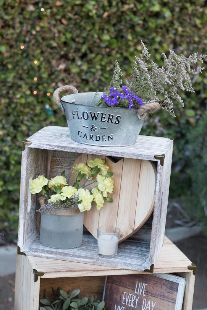 21st Garden Birthday Party  Crate Decor