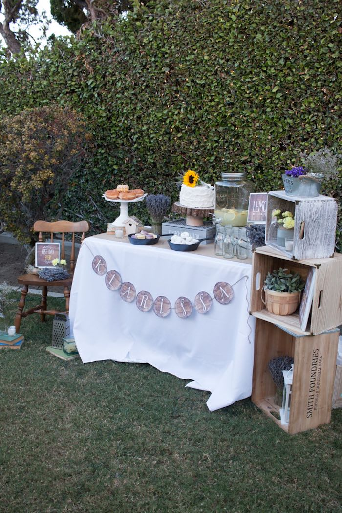 21st Garden Birthday Party  Dessert Table