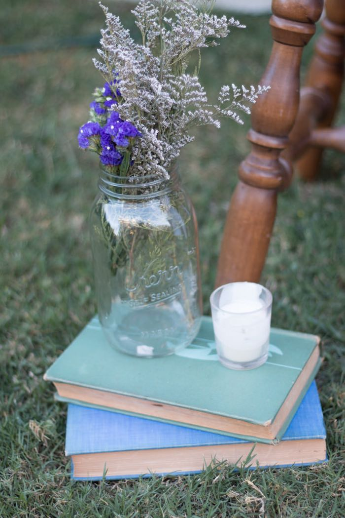 21st Garden Birthday Party  Flowers in mason jar