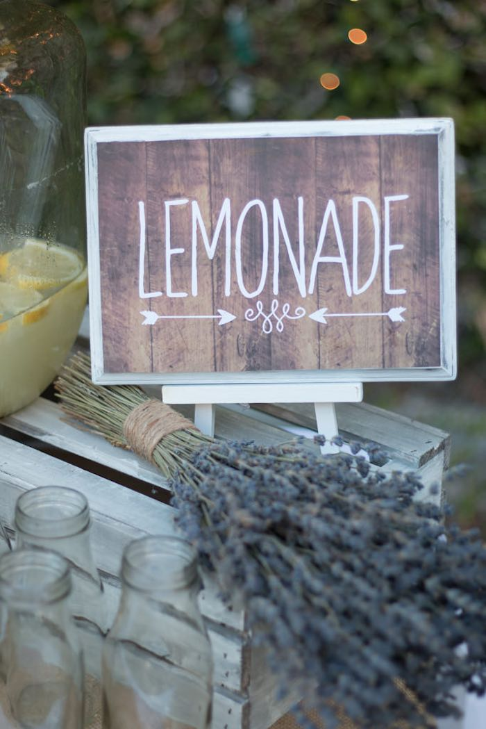 21st Garden Birthday Party  Rustic Lemonade Signage