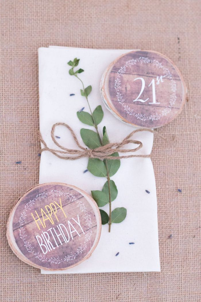 21st Garden Birthday Party  napkin decor