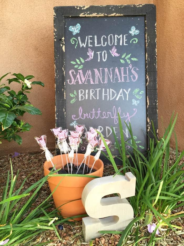 Butterfly Garden Party Chalkboard