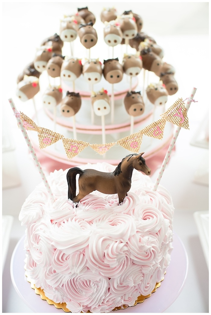 Pink and Brown Pony Party cake and cake pops