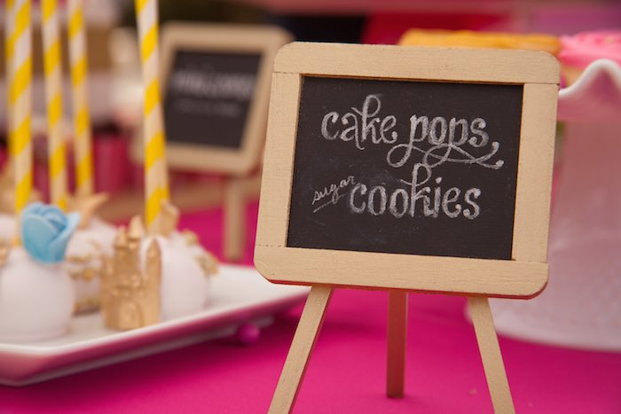 Princess Tea Party Picnic Cake pops and cookie sign