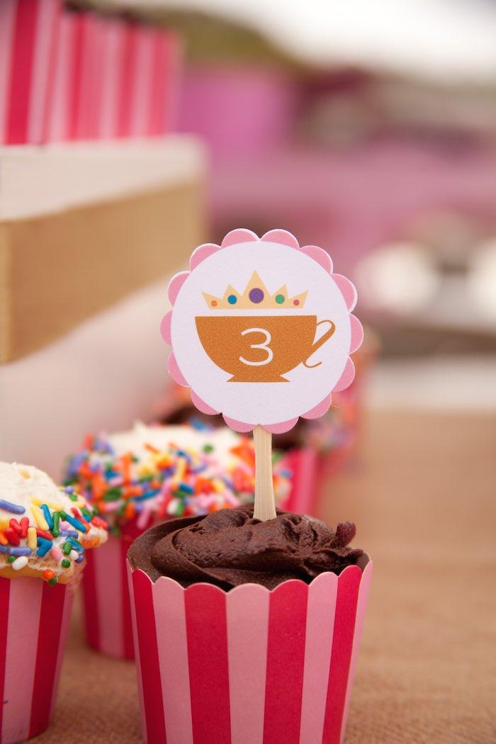 Princess Tea Party Picnic cupcake topper