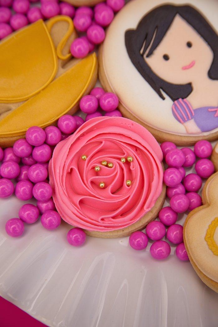 Princess Tea Party Picnic rose cookie