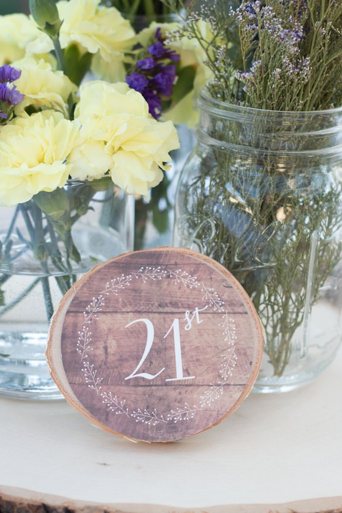 21st Garden Birthday Party Table Number