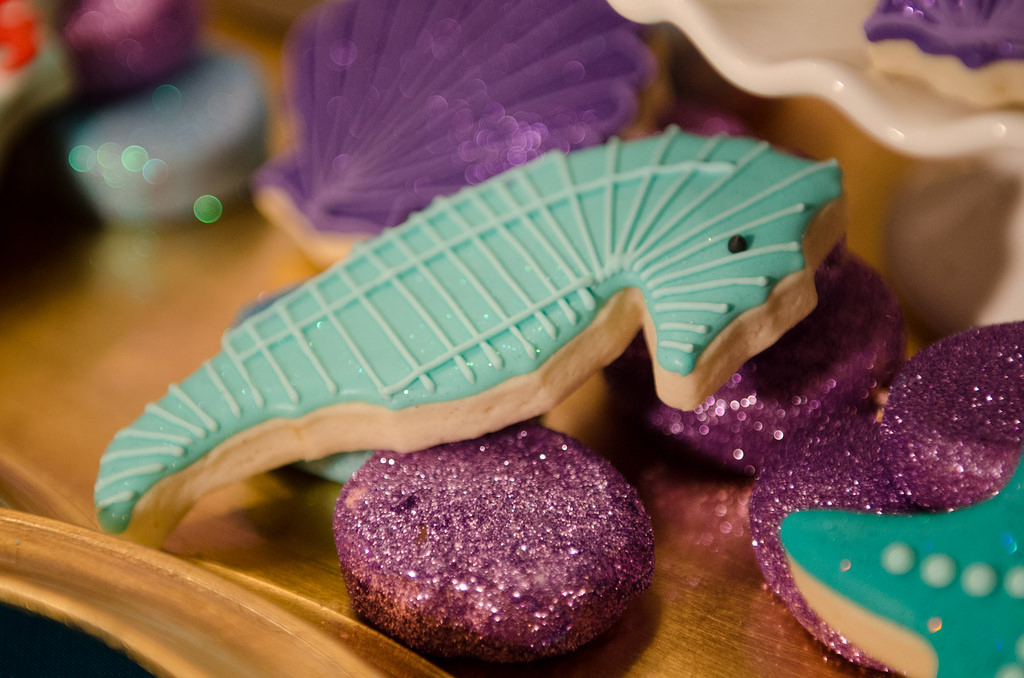 The Little Mermaid Party Seahorse cookie