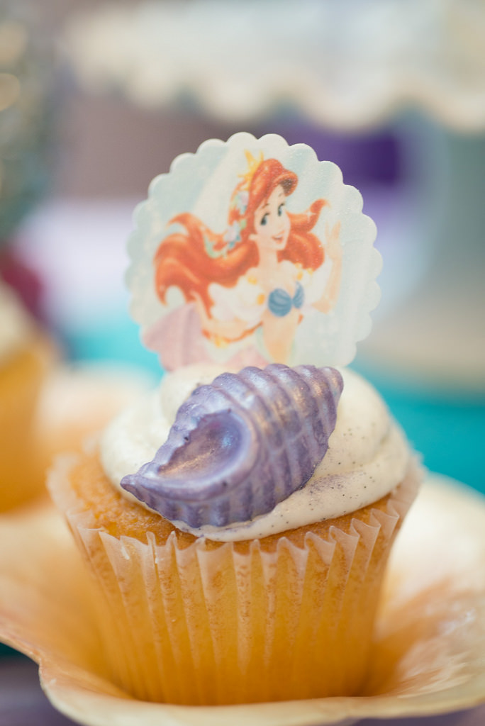 The Little Mermaid Party cupcake shell detail