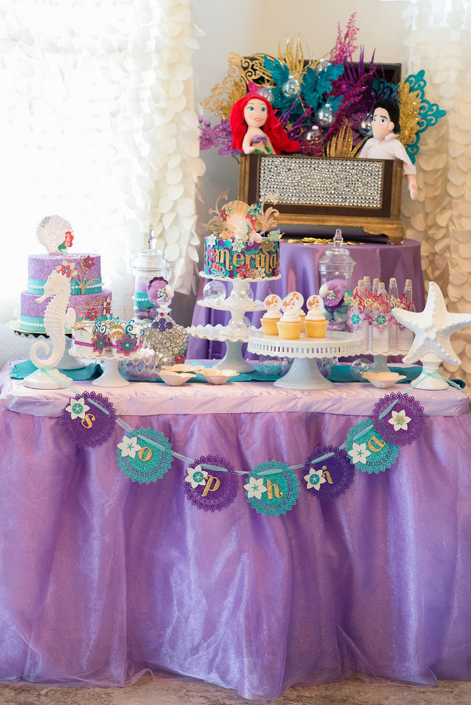 The Little Mermaid Party dessert table