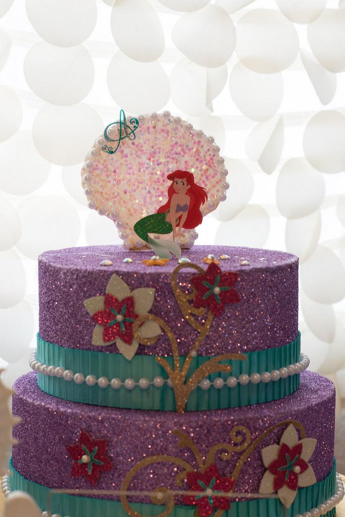 The Little Mermaid Party purple glitter cake