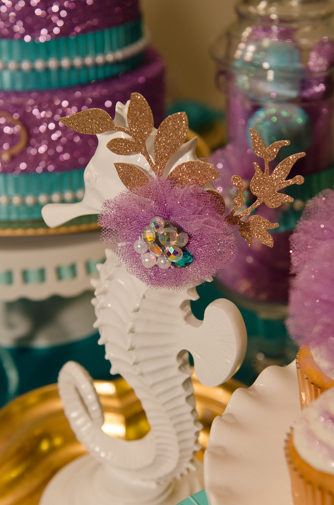 The Little Mermaid Party seahorse detail