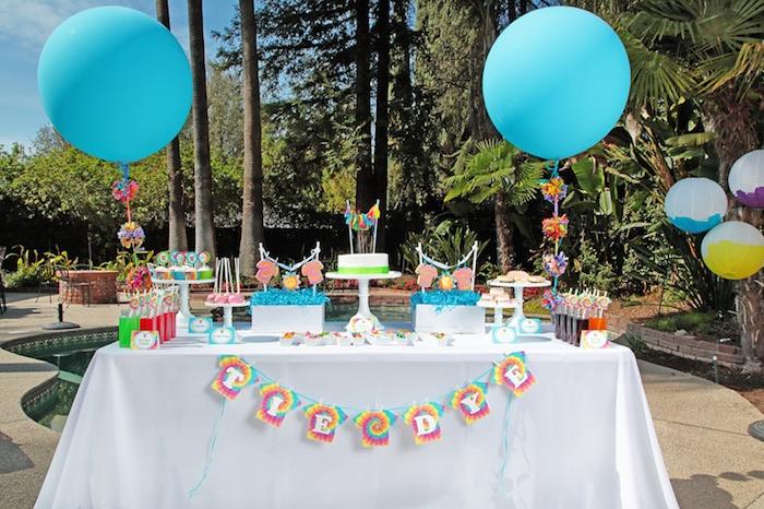 Tie Dye Party Dessert table