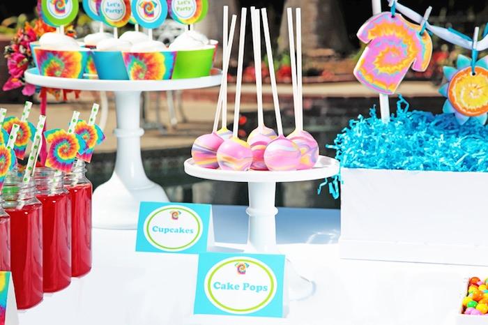 Tie Dye Party cake Pops
