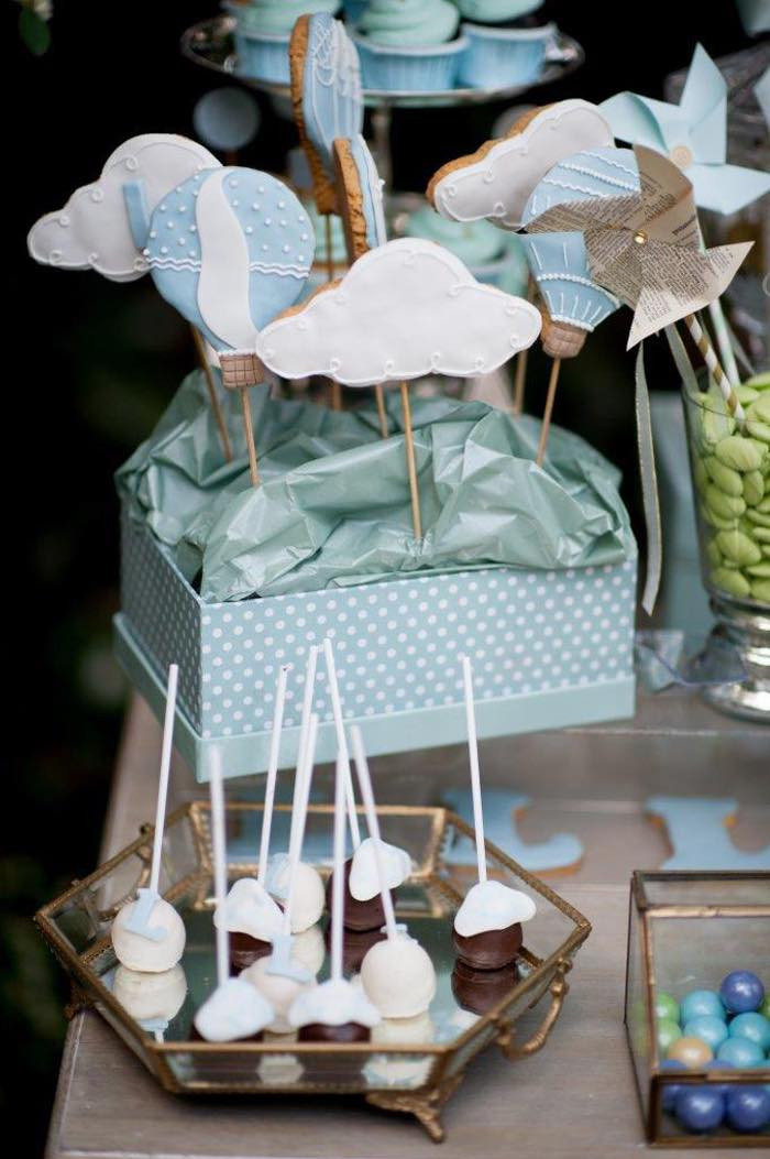 Vintage Up Up & Away Party Cookie Pop Centerpiece