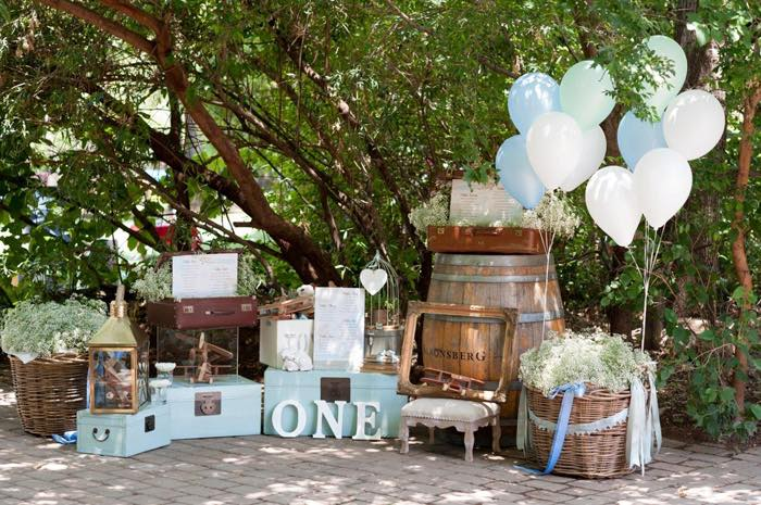 Sweetly Feature Vintage Up Up Away Christening 1st Birthday Party