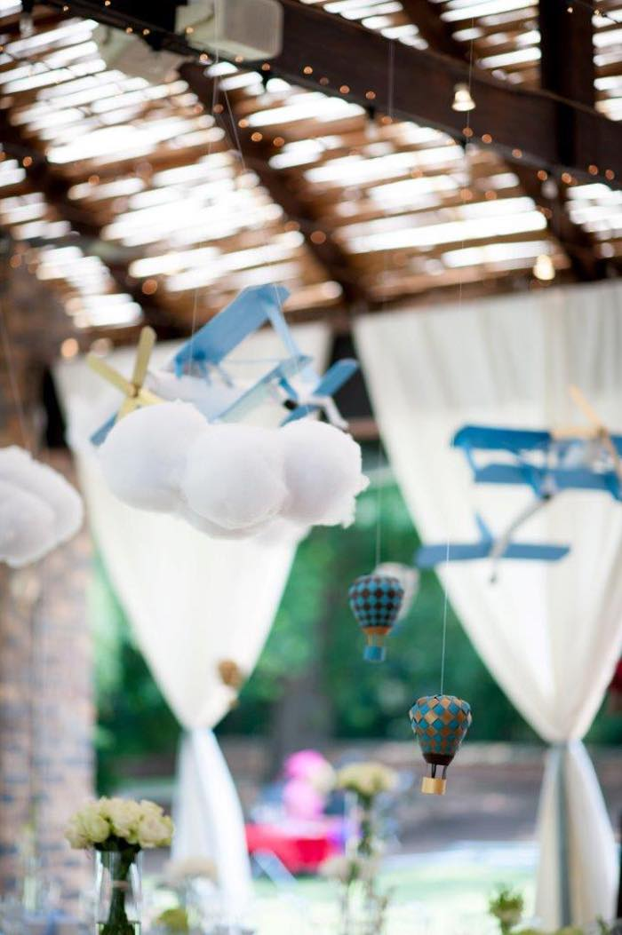 Vintage Up Up & Away Party Plave and Hot Air Balloon Decor