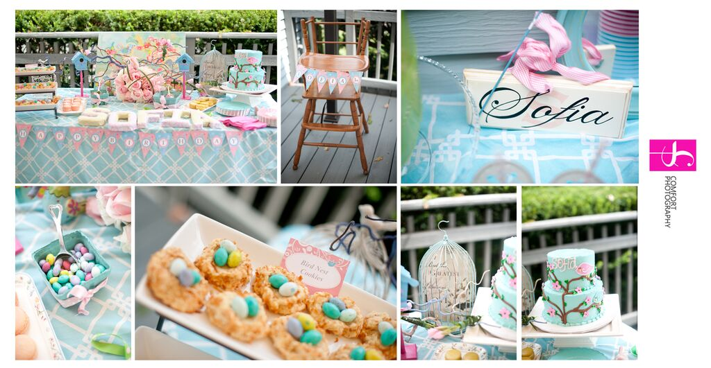 Cherry Blossoms and Birds First Birthday Party