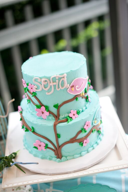 Cherry Blossoms and Birds First Birthday Party Cake