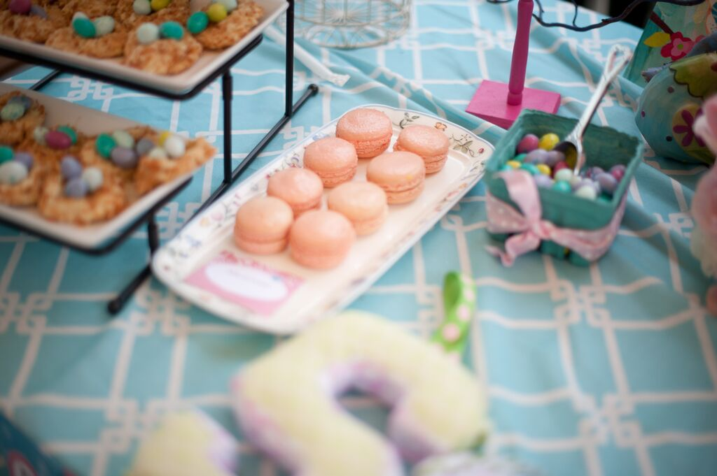 Cherry Blossoms and Birds First Birthday Party Macarons