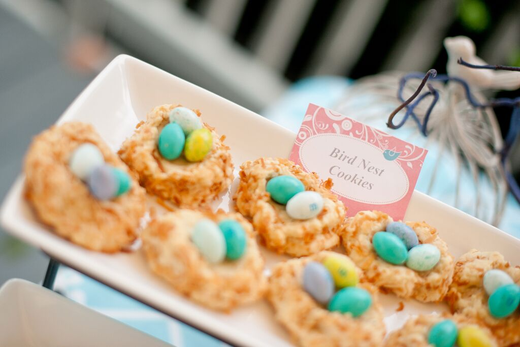 Cherry Blossoms and Birds First Birthday Party Birds Nest Cookies