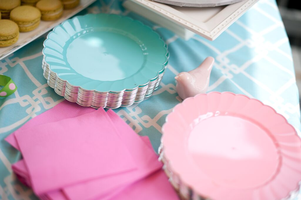 Cherry Blossoms and Birds First Birthday Party Dishes