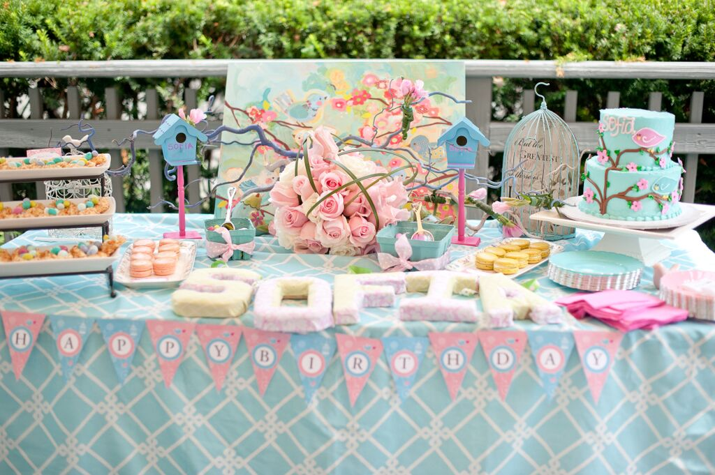 Cherry Blossoms and Birds First Birthday Party Table