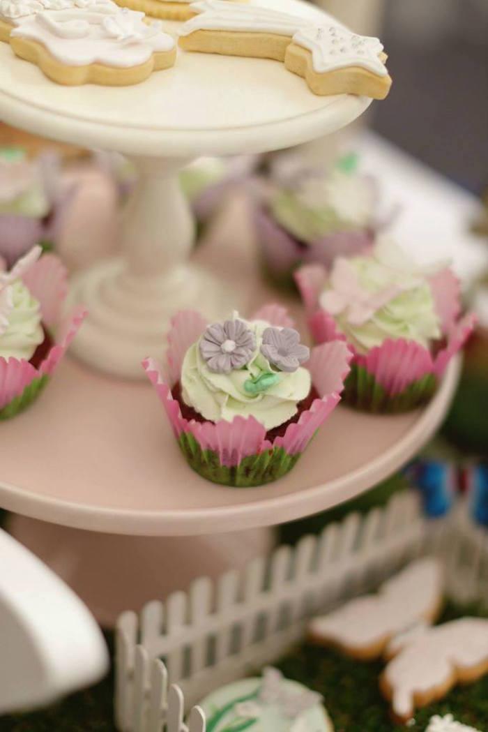 fairy garden birthday party cupcakes