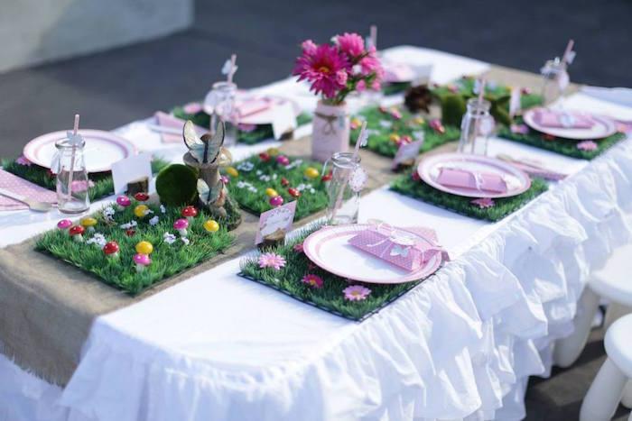 fairy garden birthday party dining table