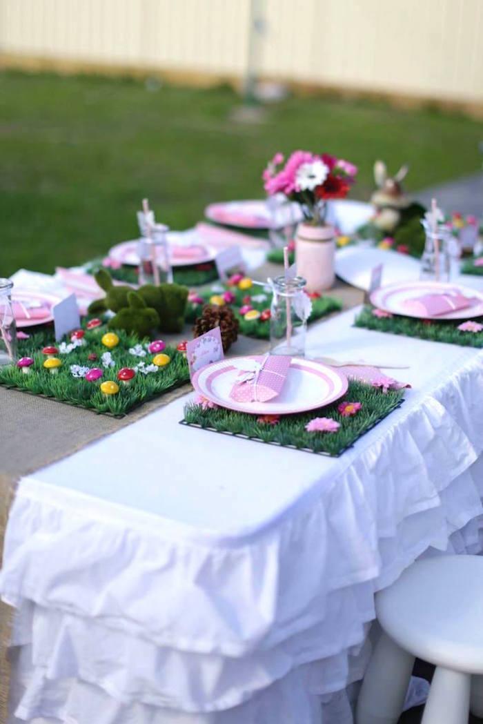 fairy garden birthday party kids table