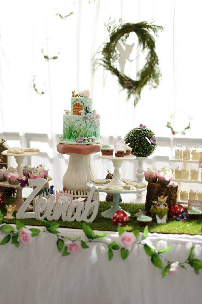 fairy garden birthday party table