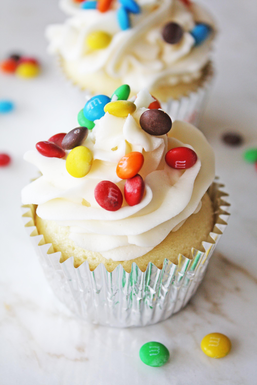 m&m surprise cupcake