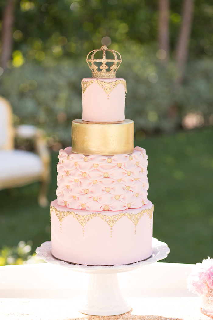 vintage glam first birthday party cake