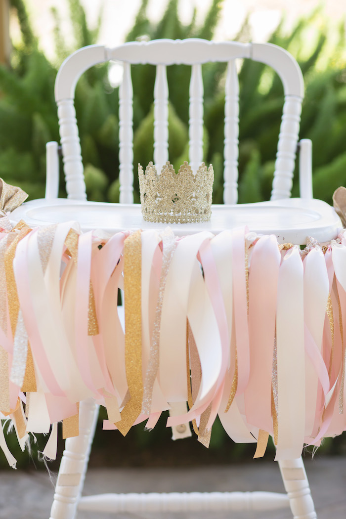 vintage glam first birthday party high chair banner