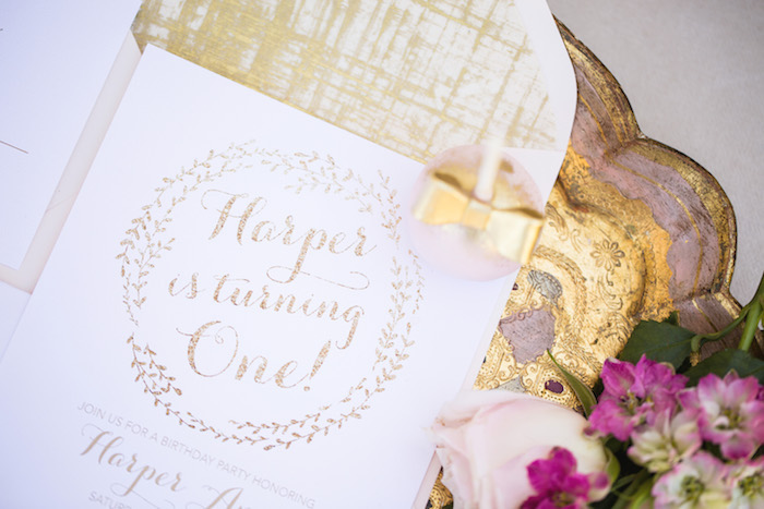 vintage glam first birthday party invitation