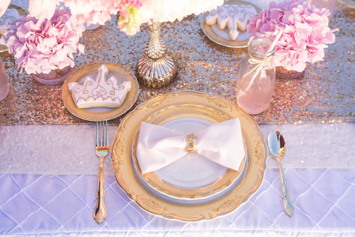 vintage glam first birthday party place setting