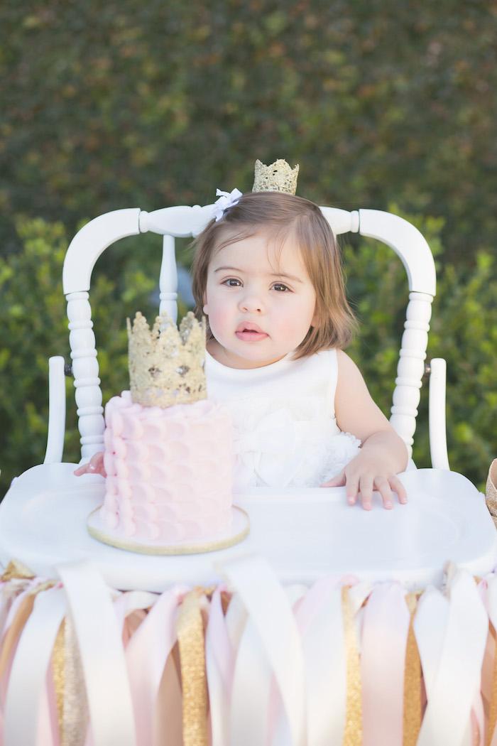 vintage glam first birthday party smash cake