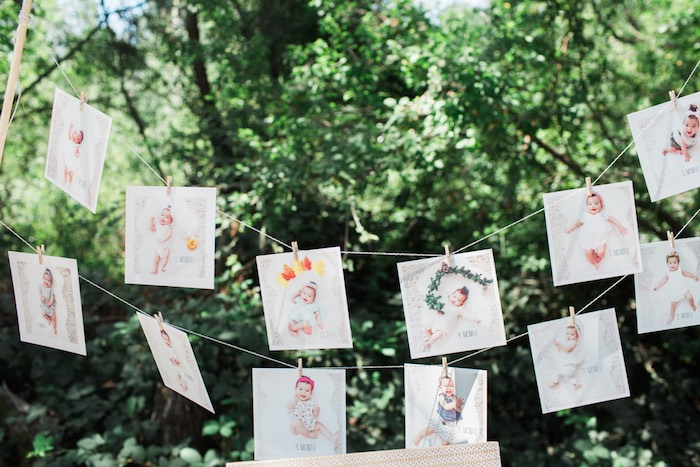 Boho Chic Birthday Party 12 Month Banner