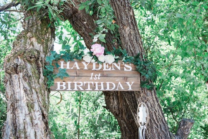 Boho Chic Birthday Party Wooden Welcome Sign