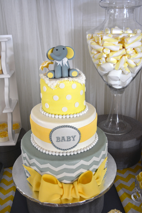 modern elephant themed baby shower cake