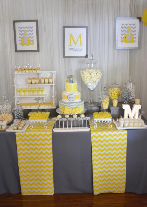 modern elephant themed baby shower dessert table