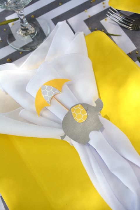 modern elephant themed baby shower napkin rings