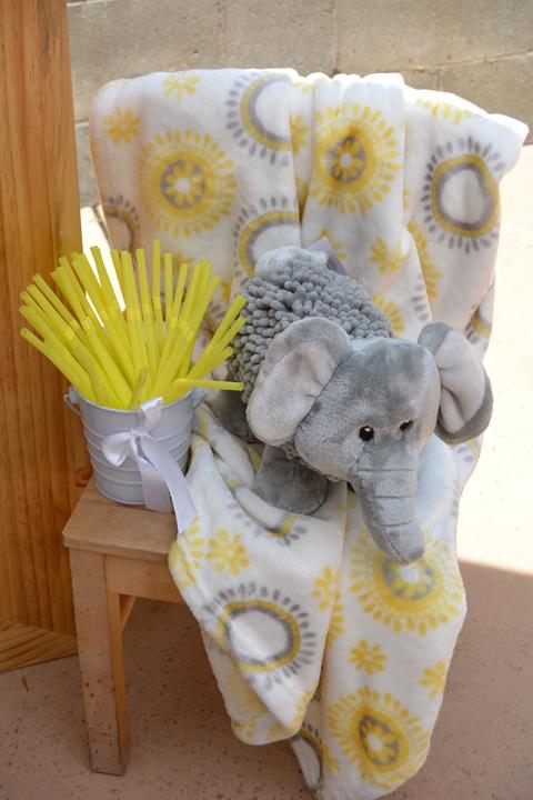 modern elephant themed baby shower lemonade sand