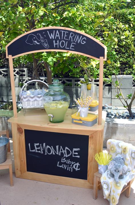 modern elephant themed baby shower lemonade stand