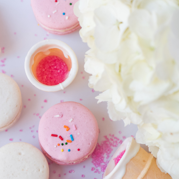 colorful ice cream birthday party macarons