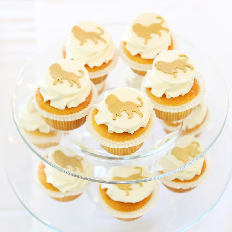 safari birthday party lion cupcakes