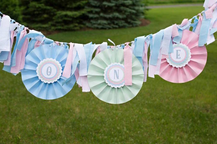 up up and away hot air balloon first birthday party banner