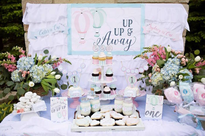up up and away hot air balloon first birthday party desserts