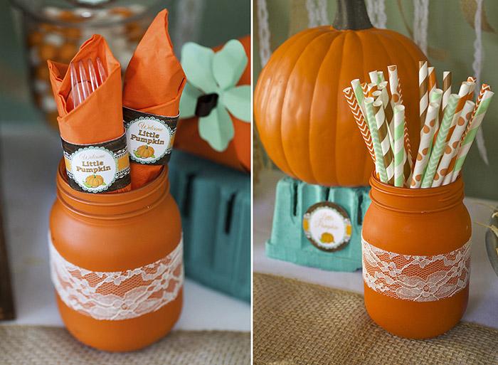 fall little pumpkin baby shower utensils and straws